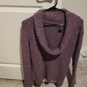 Chunky cowl neck purple sweater